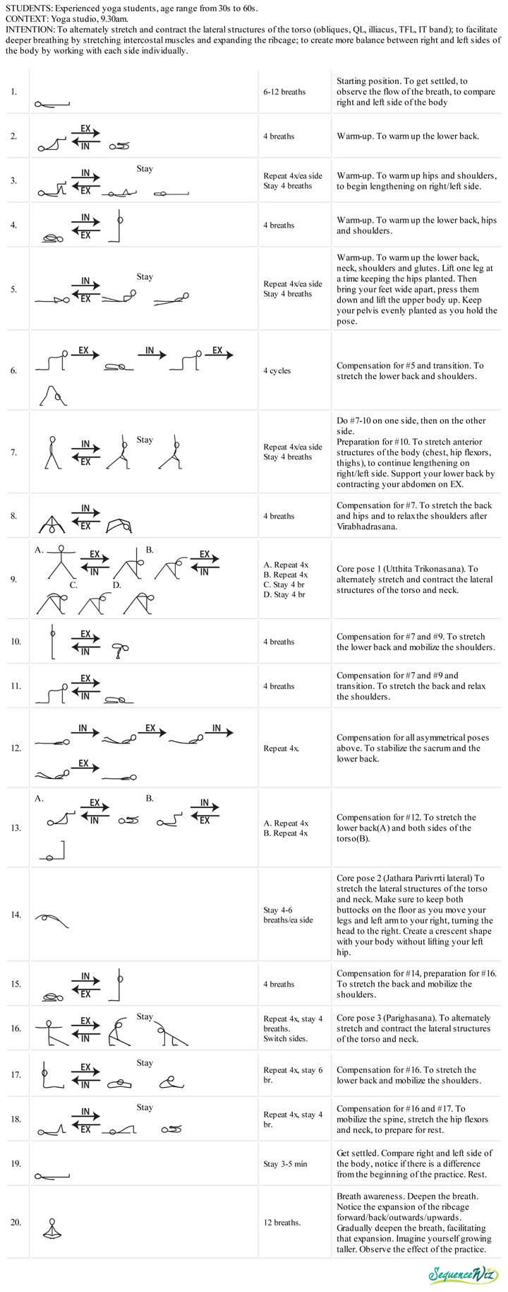 Lateral bending yoga practice