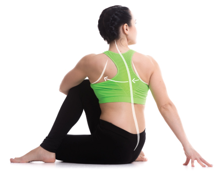 Shoulder blade movement during twisting