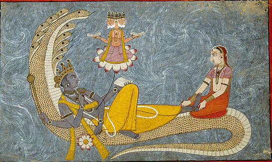 The deity Vishnu reclines on the coil of the great serpent Shesha, while the four-headed Brahma springs from his navel. Lakshmi, Vishnu's consort, caresses his feet with devotion. Chamba, Pahari, circa 1780-90 The National Museum, New Delhi 47.110/605