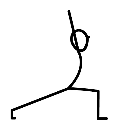 Anjaneyasana. To stretch the front of the body, to warm up the shoulders, to introduce the element of balance, to prepare legs for bearing weight.